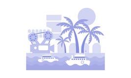 Paisagem monocromática do vetor com os navios no mar, nas palmeiras, na tira do filme e na câmera Festival do cinema em agradável ilustração royalty free