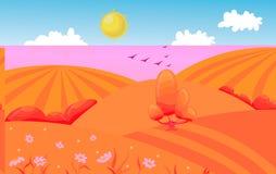 Paisagem montanhosa do campo com árvore Ilustração do vetor dos desenhos animados ilustração do vetor