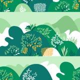 Paisagem montanhosa do teste padr?o sem emenda com ?rvores, arbustos e plantas Plantas crescentes e jardinagem ilustração royalty free