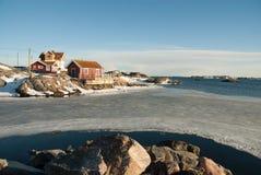 Paisagem na costa oeste, Suécia do inverno fotografia de stock