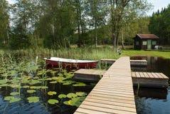 Paisagem na costa oeste, Suécia do verão imagens de stock