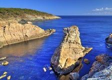 Paisagem na costa rochosa Fotos de Stock Royalty Free