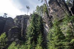 Paisagem na natureza do nacional de Adrspach-Teplice das formações de rocha Imagens de Stock Royalty Free