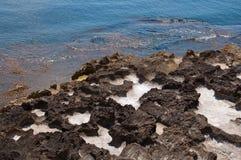 Paisagem natural bonita da costa com cavidades de sal foto de stock royalty free