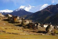 Paisagem nepalesa pitoresca com uma vila imagem de stock