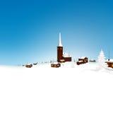 Paisagem nevado bonita do inverno da aldeia da montanha com céu azul ilustração royalty free