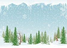 Paisagem nevado da floresta ilustração royalty free