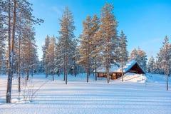 Paisagem nevado da floresta do inverno com o alojamento de madeira pequeno fotografia de stock
