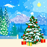 Paisagem nevado do inverno Convite do ano novo Fotos de Stock