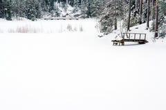 Paisagem nevado do inverno em Finlandia fotografia de stock royalty free