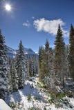 Paisagem nevado no parque nacional de geleira imagem de stock royalty free