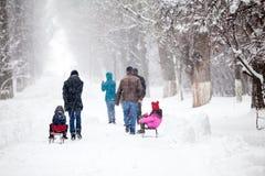 Paisagem nevando no parque com os povos que passam perto Fotografia de Stock