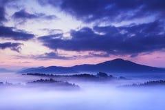 Paisagem nevoenta do outono ou do verão Manhã nevoenta enevoada com nascer do sol em um vale do parque boêmio de Suíça Detalhe de imagem de stock