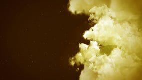 Paisagem no céu nebuloso, animação branca da fantasia do fumo, fundo do laço, filme