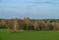 A paisagem no campos da região de Kaluga em Rússia Fotografia de Stock Royalty Free