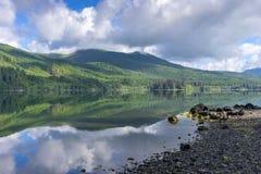 Paisagem no Columbia Britânica do lago Nitinat, Canadá da manhã Imagens de Stock Royalty Free