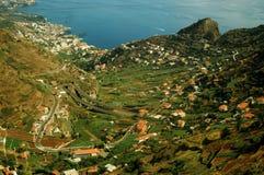 Paisagem no console de Madeira Fotos de Stock