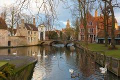 Paisagem no lago Minnewater em Bruges, Bélgica Imagem de Stock Royalty Free