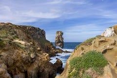 Paisagem no ponto de Papoa em Peniche Portugal Fotos de Stock Royalty Free