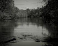 Paisagem no rio na imagem preto e branco Foto de Stock Royalty Free
