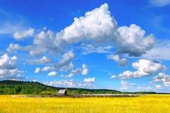 Paisagem, nuvens, campo, casa Fotografia de Stock