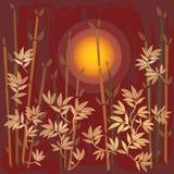 Paisagem oriental do por do sol com bambus ilustração royalty free