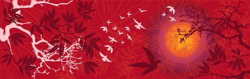 Paisagem oriental do por do sol com pássaros e árvores ilustração do vetor