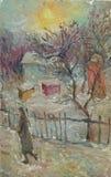 Paisagem original bonita da pintura a óleo na lona ilustração royalty free