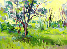 Paisagem original da pintura a óleo com árvore Imagem de Stock Royalty Free