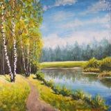 Paisagem original do verão da pintura a óleo, natureza ensolarada na lona Floresta distante bonita, paisagem rural da paisagem Im imagem de stock