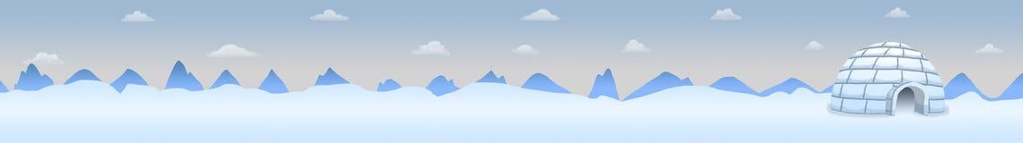 Paisagem panorâmico do Polo Norte com iglu Fotografia de Stock Royalty Free