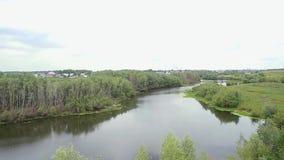 Paisagem Panorama da natureza com rio, estrada vídeos de arquivo