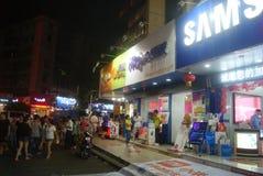 Paisagem pedestre comercial da noite da rua de Shenzhen Xixiang Fotografia de Stock Royalty Free