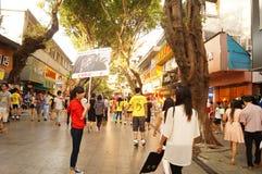 Paisagem pedestre comercial da rua do xixiang de Shenzhen Imagens de Stock