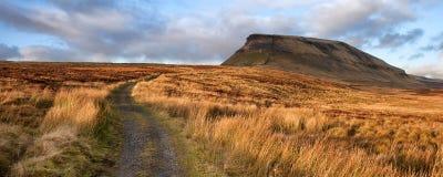 Paisagem Pena-y-Ghent do panorama no parque nacional dos vales de Yorkshire Fotografia de Stock