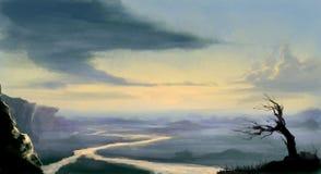 Paisagem pintada Digital da manhã na cor ilustração stock