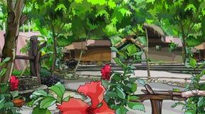 Paisagem pintada do pátio com construções e as plantas tropicais ilustração stock