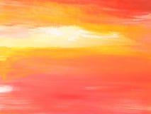 Paisagem pintada/por do sol abstrato do céu Fotos de Stock Royalty Free