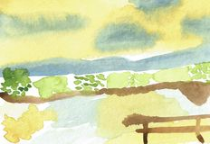 Paisagem pintado à mão em cores de água Foto de Stock