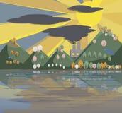 Paisagem poluída dos desenhos animados da natureza Imagens de Stock