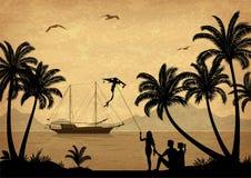 Paisagem, praia tropical Fotografia de Stock