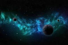 Paisagem profunda do espaço com nebulosa, planetas e estrelas ilustração royalty free