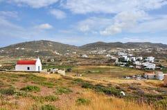 Paisagem remota nos mykonos gregos da ilha, greece do campo Imagem de Stock Royalty Free