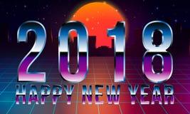 Paisagem retro da onda do projeto do ano novo do estilo 2018 de Synthwave fundo retro da ficção científica 80s com skyline da cid ilustração stock