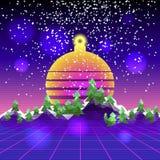Paisagem retro do cyber da onda do synth Imagem de Stock Royalty Free