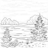 Paisagem. Rio da floresta, esboço Fotografia de Stock Royalty Free