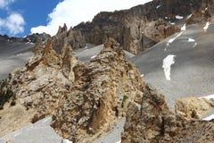 Paisagem rochosa do déserte de Casse do La, parque natural de Queyras do francês Fotos de Stock Royalty Free