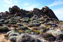 Paisagem rochosa perto da Austrália Ocidental de Yallingup Foto de Stock