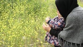 Paisagem rural com as plantas amarelas do campo da colza ou do canola da viola??o para a energia verde filme