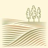 Paisagem rural com campos e árvore Fotografia de Stock Royalty Free